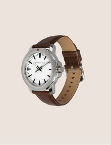 ARMANI EXCHANGE FACETED BROWN LEATHER STRAP WATCH Watch Man d