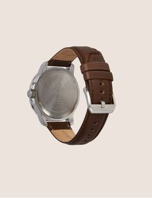 ARMANI EXCHANGE FACETED BROWN LEATHER STRAP WATCH Watch Man e