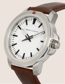 ARMANI EXCHANGE FACETED BROWN LEATHER STRAP WATCH Watch Man r