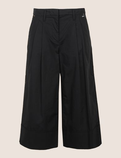 PLEAT-FRONT CROPPED POPLIN TROUSER