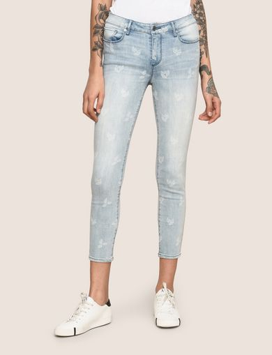 ARMANI EXCHANGE SUNFADE PRINT SUPER-SKINNY CROPPED JEAN Woman front