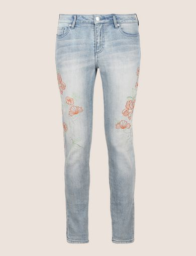 FLORAL EMBROIDERED SUPER-SKINNY JEAN