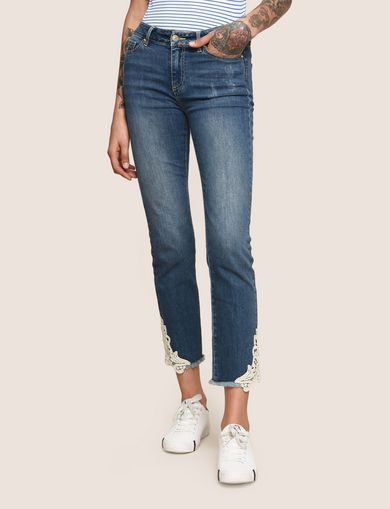 APPLIQUE SLIM-FIT CROPPED JEAN