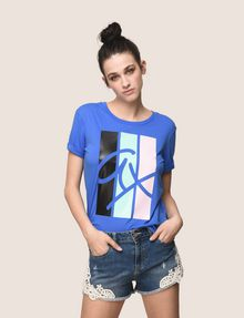 ARMANI EXCHANGE TRICOLOR STRIPE LOGO TEE Logo T-shirt Woman a