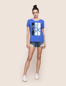 ARMANI EXCHANGE TRICOLOR STRIPE LOGO TEE Logo T-shirt Woman d