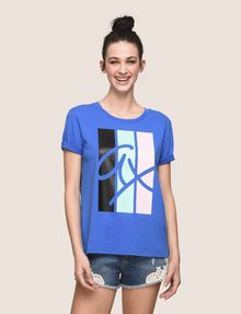 ARMANI EXCHANGE TRICOLOR STRIPE LOGO TEE Logo T-shirt Woman f