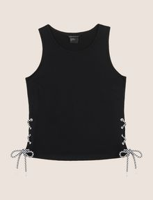 ARMANI EXCHANGE SIDE-LACE TANK TOP S/S Knit Top [*** pickupInStoreShipping_info ***] r