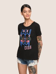 ARMANI EXCHANGE TROPICAL PLANT CUBA LOGO TEE Logo T-shirt Woman f