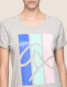 ARMANI EXCHANGE TRICOLOR STRIPE LOGO TEE Logo T-shirt Woman b