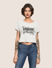 ARMANI EXCHANGE LINE ART FLORAL CROPPED TEE Logo T-shirt Woman f
