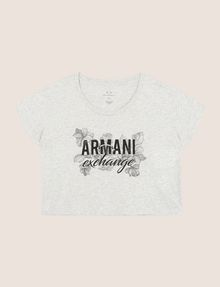 ARMANI EXCHANGE LINE ART FLORAL CROPPED TEE Logo T-shirt Woman r