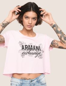 ARMANI EXCHANGE LINE ART FLORAL CROPPED TEE Logo T-shirt Woman a