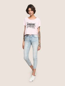 ARMANI EXCHANGE LINE ART FLORAL CROPPED TEE Logo T-shirt Woman d
