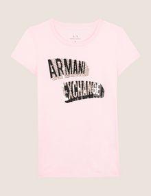 ARMANI EXCHANGE BILLBOARD SEQUIN LOGO TEE Logo T-shirt Woman r