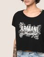 ARMANI EXCHANGE LINE ART FLORAL CROPPED TEE Logo T-shirt Woman b