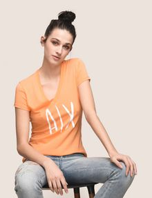 ARMANI EXCHANGE TONAL SEQUIN HANDWRITTEN LOGO TEE Logo T-shirt Woman a