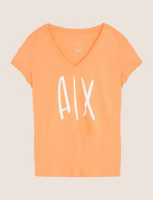 ARMANI EXCHANGE TONAL SEQUIN HANDWRITTEN LOGO TEE Logo T-shirt Woman r