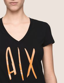 ARMANI EXCHANGE TONAL SEQUIN HANDWRITTEN LOGO TEE Logo T-shirt Woman b
