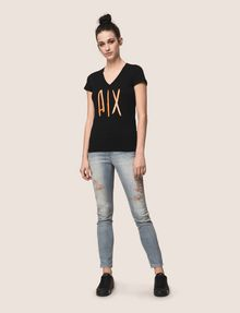 ARMANI EXCHANGE TONAL SEQUIN HANDWRITTEN LOGO TEE Logo T-shirt Woman d
