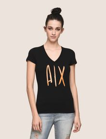 ARMANI EXCHANGE TONAL SEQUIN HANDWRITTEN LOGO TEE Logo T-shirt Woman f