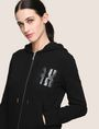 ARMANI EXCHANGE A|X INVADERS SEQUIN ZIP-UP HOODIE Fleece Jacket Woman b
