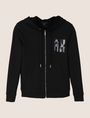 ARMANI EXCHANGE A|X INVADERS SEQUIN ZIP-UP HOODIE Fleece Jacket Woman r