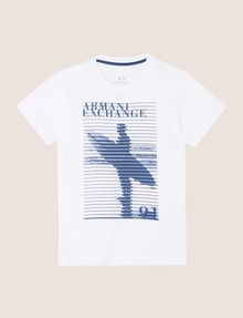 ARMANI EXCHANGE BOYS STRIPED SURFER TEE Logo T-shirt Man f