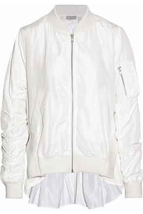 CLU Ribbed knit-paneled ruched shell bomber jacket