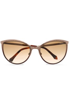 Roberto Cavalli Woman Cat-eye Pebbled-leather And Acetate Sunglasses Brown Size Roberto Cavalli VLbbvP50cy