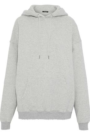 R13 Oversized distressed cotton-fleece hooded sweatshirt
