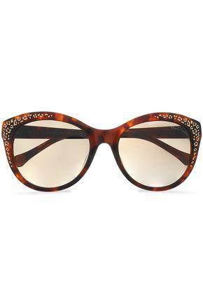 ROBERTO CAVALLI Round-frame tortoiseshell acetate sunglasses