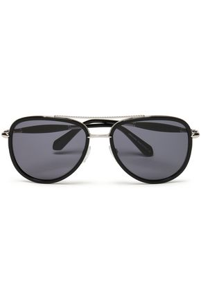 ROBERTO CAVALLI Aviator-style acetate and silver-tone sunglasses