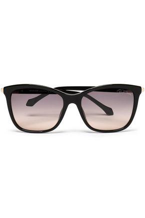 ROBERTO CAVALLI Square-frame gold-tone acetate sunglasses