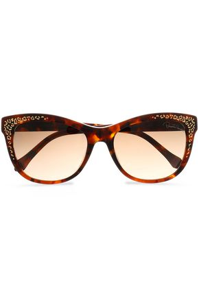 ROBERTO CAVALLI Cat-eye tortoiseshell acetate and gold-tone sunglasses