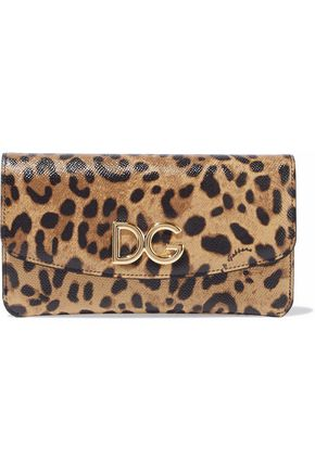 DOLCE & GABBANA Leopard-print textured-leather wallet