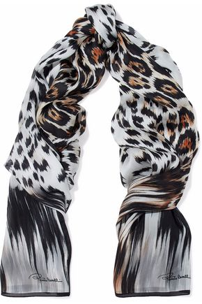 ROBERTO CAVALLI Leopard-print silk scarf