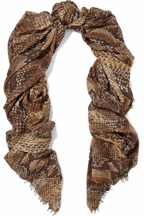 ROBERTO CAVALLI Frayed snake-print modal-blend scarf