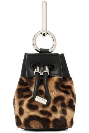 ALEXANDER WANG Leather-trimmed leopard-print calf hair keychain