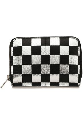ALEXANDER WANG Checked metallic snake-effect leather wallet