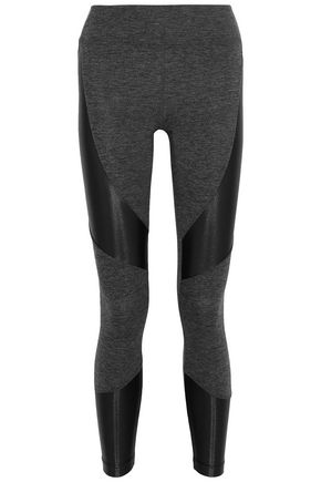 KORAL Coated paneled mélange stretch leggings