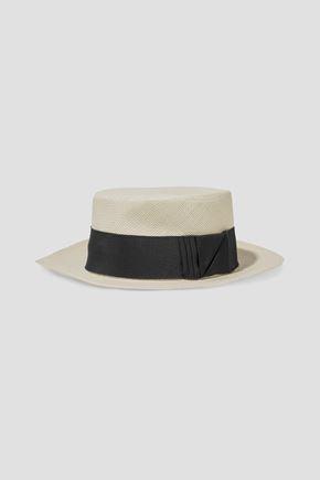 SENSI STUDIO Boater grosgrain-trimmed toquilla straw Panama hat