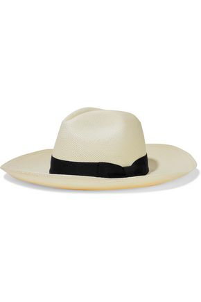 SENSI STUDIO Bow-embellished grosgrain-trimmed toquilla straw Panama hat