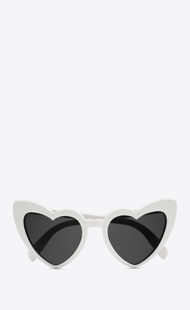 SAINT LAURENT NEW WAVE Woman new wave 181 loulou sunglasses in shiny ivory acetate with grey nylon lenses V4