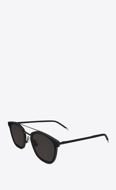 SAINT LAURENT CLASSIC E classic 28 sunglasses in matte black metal with smoked lenses b_V4