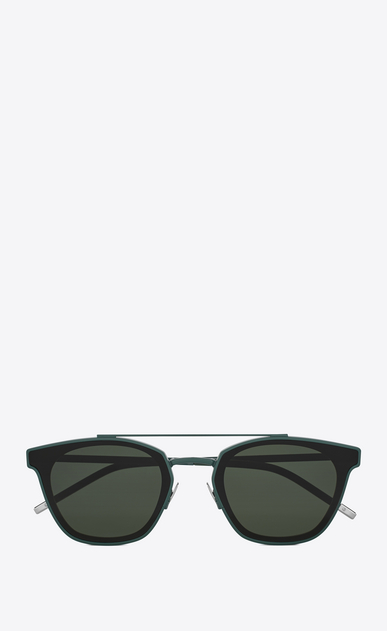 SAINT LAURENT CLASSIC E classic 28 sunglasses in green metal and black acetate with green lenses a_V4