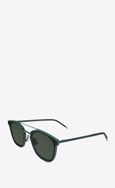 SAINT LAURENT CLASSIC E classic 28 sunglasses in green metal and black acetate with green lenses b_V4