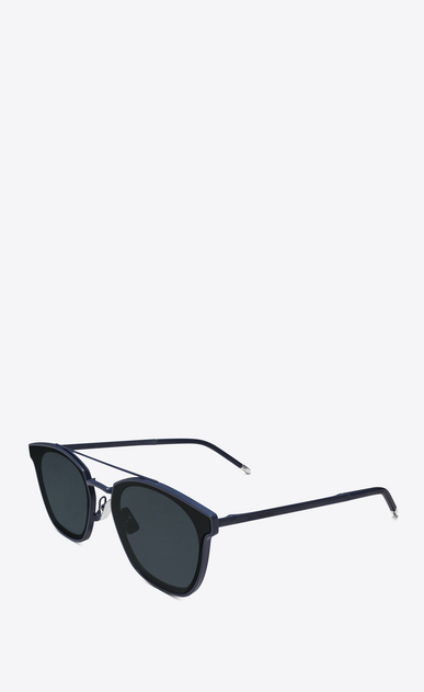 SAINT LAURENT CLASSIC E classic 28 sunglasses in blue metal and black acetate with blue lenses b_V4