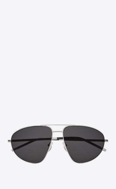 SAINT LAURENT CLASSIC Woman 21 sunglasses in silver metal, black acetate and gray lenses a_V4