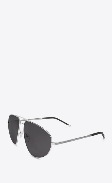 SAINT LAURENT CLASSIC Woman classic 21 sunglasses in silver metal, black acetate and gray lenses b_V4