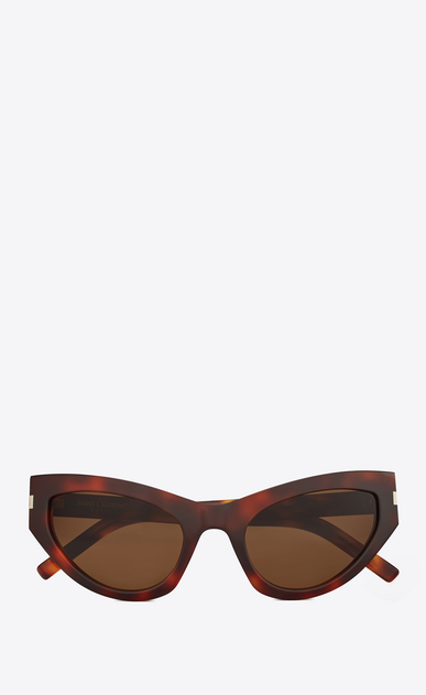 SAINT LAURENT NEW WAVE Woman new wave 215 grace sunglasses in havana acetate with tobacco-colored lenses a_V4